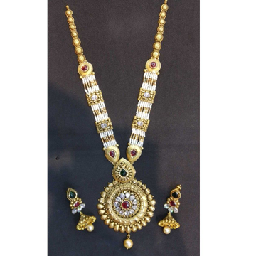 22 kt gold jodhpuri bridal antique set by
