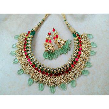 Pink and green kundan gaadi set with beautiful earrings1086