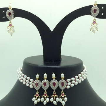 White,Red CZ and Pearls Choker Set With Oval Pearl...