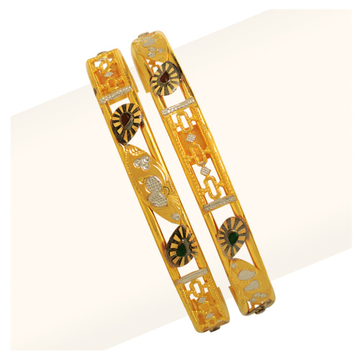 916 Gold Double Pipe Copper Kadli Bangle RJDP-060