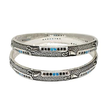 925 Sterling Silver Designer Oxidised Kadli Bangles MGA - KDS2499