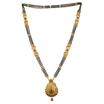 One gram gold forming three line antique mangalsutra mga - mse0123