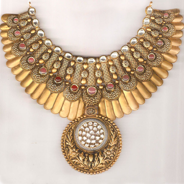 royal 916 gold antique necklace set from rajkot