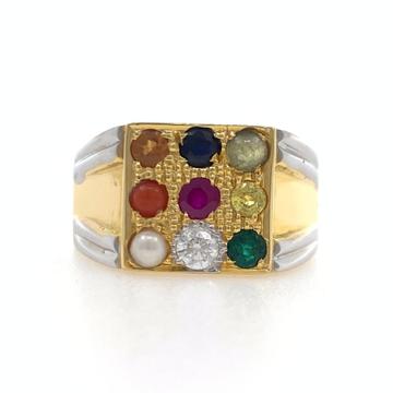 18kt yellow gold traditional handmade navgrah diamond gents ring 7gr48