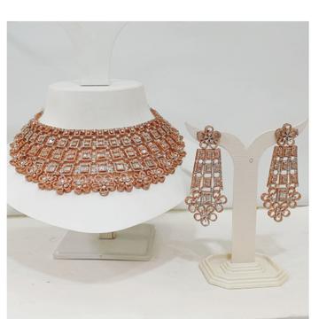 Rose gold plated diamond bridal necklace set 1223