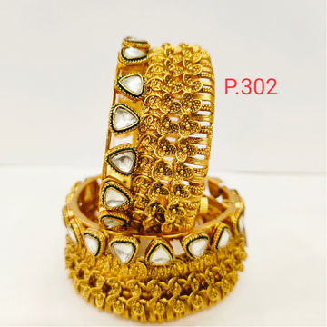 Antique flower work with white stone heart shape gold bangles (kada) & screw openable 1201