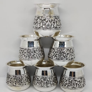 Pure silver kesar milk glasses in antique carvings... by