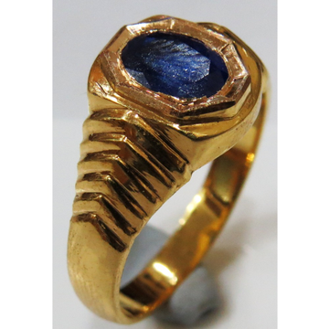 22kt Gold close setting single gemstone gents ring hGSR-003