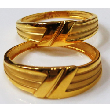 22kt gold plain casting fancy couple band cr-1