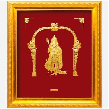 24 K GOLD GOD MURUGAN PHOTO FRAME RJ-PGA44