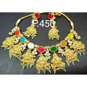 Beautiful big stone and kundan combination half dulls designe necklace set 1099