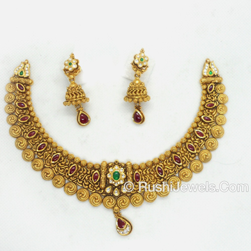 916 Gold Attractive Choker Necklace Set