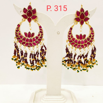 Moon shape Gold plated  ruby stone  earring with hanging moti 1699