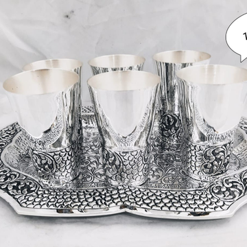 Silver glass and tray set jys0012