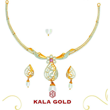 22K/916 Gold Designer CZ Necklace Set