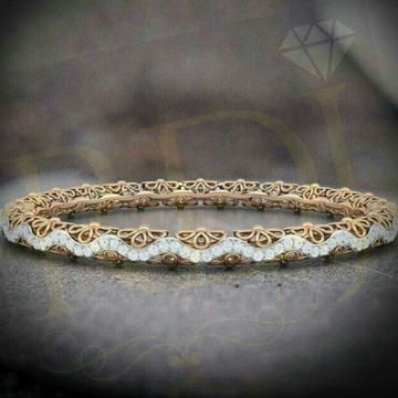 18KT Yellow Gold Fancy Design Diamond Bangle by