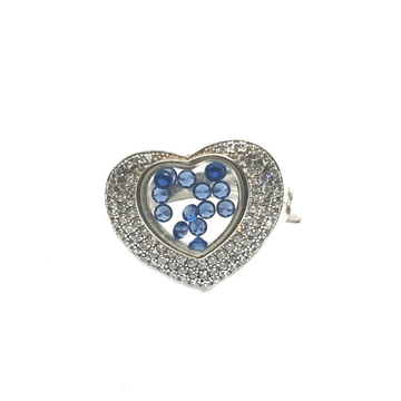925 Sterling Silver Heart Shape Blue Movable Diamond Ring MGA - LRS0105