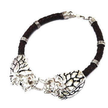 925 Sterling Silver Leather Belt Lion Bracelet MGA - KRS0106
