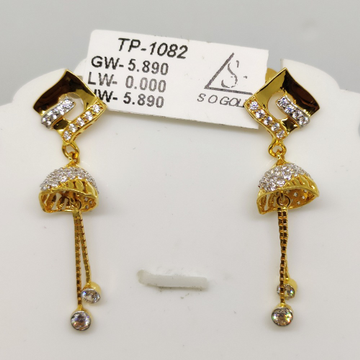 22KT Gold Latkan Earring SOG-E004 by S. O. Gold Private Limited