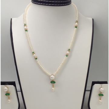 White, Green CZ And Pearls Pendent Set With Flat Pearls Mala JPS0067