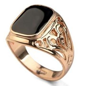 22kt gold black stone ring for men jkr001