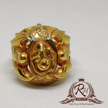 22 carat gold ganpatii ring rH-gr897