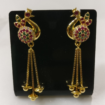 22kt gold casting peacock earing with chain tussels by