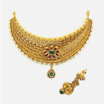 916 Gold Antique Bridal Choker Necklace Set RHJ - 4967