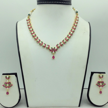 Red ,Green CZ and Pearls Necklace Set JNC0168