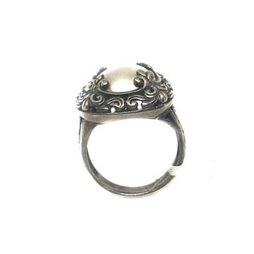 925 Sterling Silver Oxidised Pearl Ring MGA - LRS1...