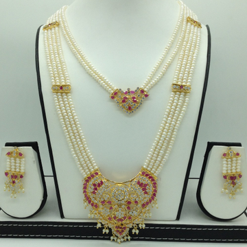 White,Red CZ Step Rani Haar Set With 6 Lines Flat ...