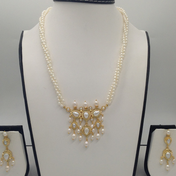 White Pearls Timmaniya Pendent Set With 3 Line Rice Pearls Mala JPS0434