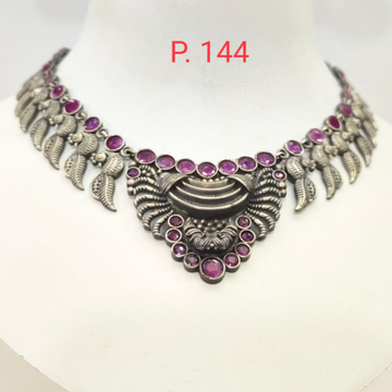 Antique Oxidised silver with pink stone choker set 1658