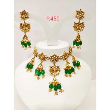 Gold Plated Kundan & Emerald Green Choker Necklace  Set 1192