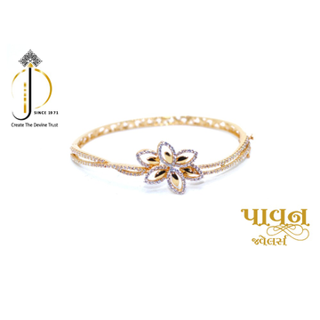 18KT Yellow Gold Flower design CZ Diamond Bracelet... by