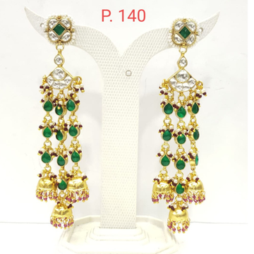 Antique Long hanging emerald stone with gold plated design earring 1574