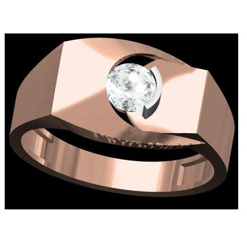 18kt cz rose gold soliter diamond gents ring
