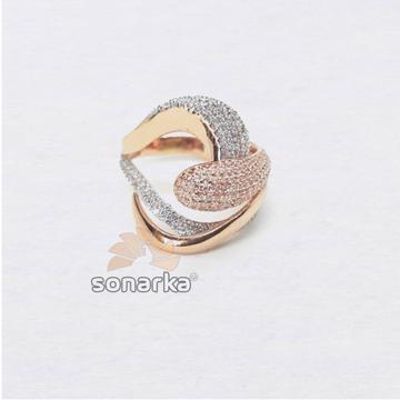 18k Designer CZ Rose Gold Ring SK - R002