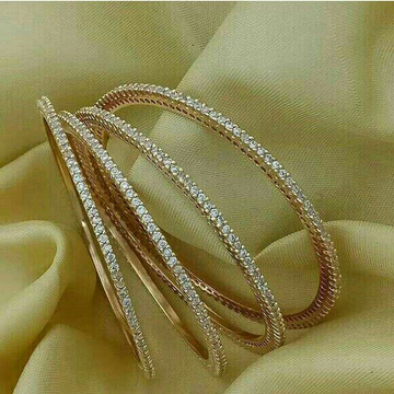 18KT Rose Gold Pair Of 4 Designer Diamond Bangle