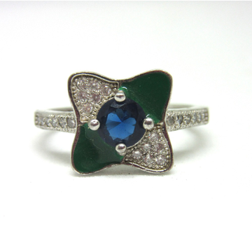 Silver 925 blue stone green meena ring sr925-75