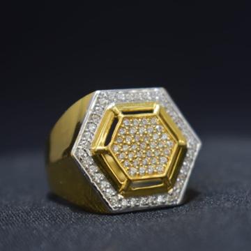 916 Gold CZ Hexagon Shape Ring For Men MK-R22 by