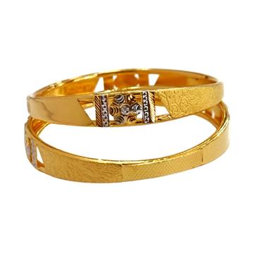 22K Gold Flower Shaped Fancy Kadli Bangles MGA - GK0077