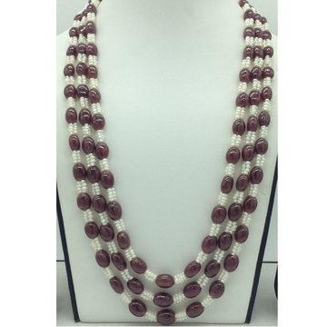 Natural Red Ruby Aweja and Seed Pearls3Layers Ne...