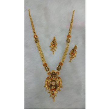 22Kt Gold Traditional Design Long Necklace Set MJ-... by