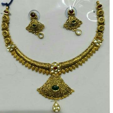 22KT/916 Yellow Antique Gold Ladies Jadtar Bridal Necklace Set