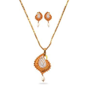 22K Gold Mango Design Pendant Set by