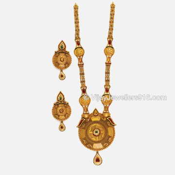 22K Gold Fancy Bridal Long Necklace Set