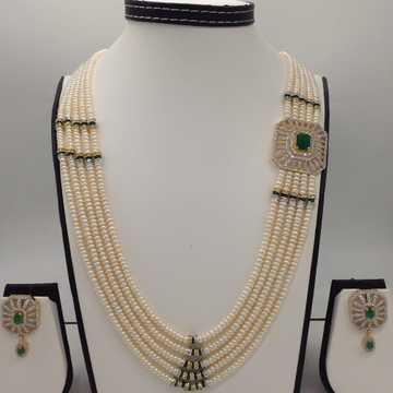 White And Green CZ Brooch Set With 5 Lines Flat Pearls Mala JPS0477