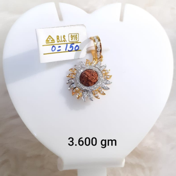 22KT Gold CZ Surya Pendant With Rudraksh KG-P10 by