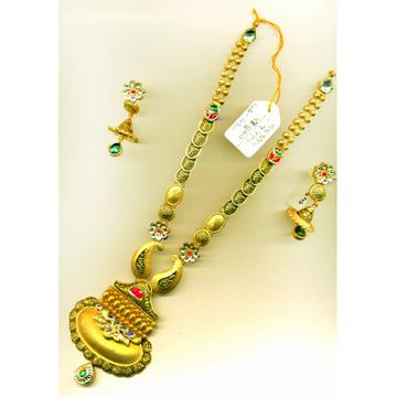 916 Gold Antique Colorful Long Necklace Set-015